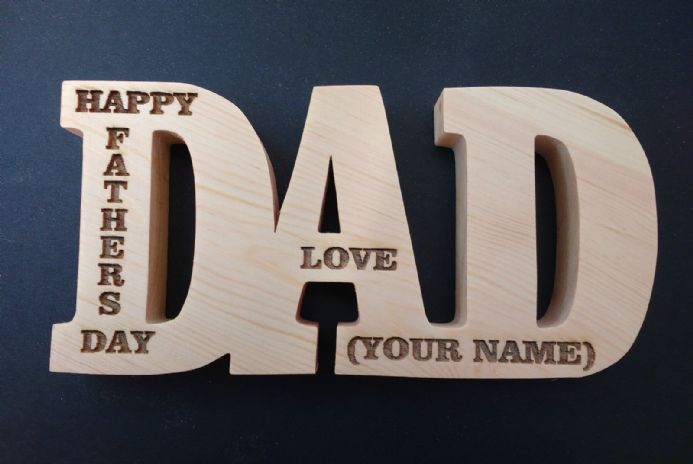 Dad Freestanding Large Wooden Letters Plaque Engraved